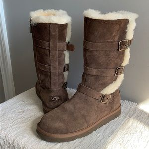 UGG Brown Suede 3 Buckle Mod Calf Fur Boots size 6